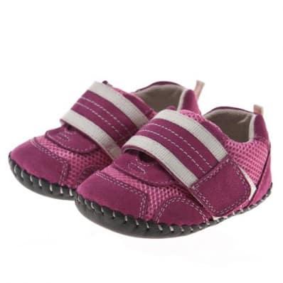 Little Blue Lamb - Krabbelschuhe Babyschuhe Leder - Mädchen | Sneakers die velcro Rosa Weißes