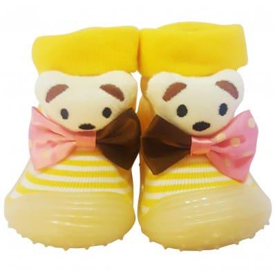 Calcetines con suela antideslizante para niñas | Pajarita del oso