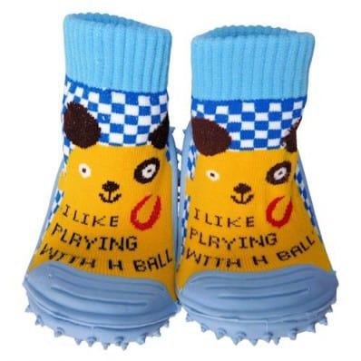 Chaussons-chaussettes bébé antidérapants semelle souple | Petit animal jaune