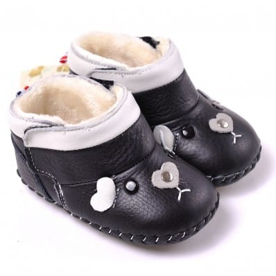 CAROCH - Baby girls first steps soft leather shoes | Black filled bootees small mouse