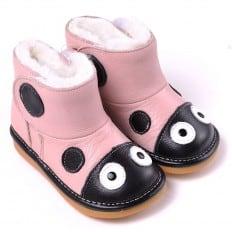 CAROCH - Zapatos de cuero chirriantes - squeaky shoes niñas | Botas de mariquita rosa