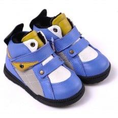 CAROCH - Chaussures semelle souple  | Montantes fourrées bleu et jaune