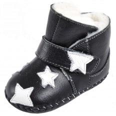CAROCH - Krabbelschuhe Babyschuhe Leder - Mädchen | Schwarz gefüllte stiefel sterne weiß