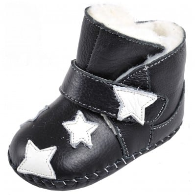 CAROCH - Baby girls first steps soft leather shoes | Black filled bootees white stars