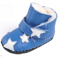 CAROCH - Zapatos de bebe primeros pasos de cuero niñas | Montantes azul forradas estrella a blanca