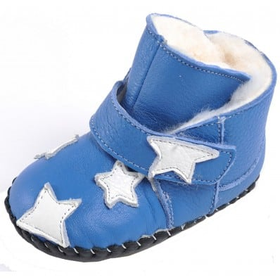 CAROCH - Krabbelschuhe Babyschuhe Leder - Mädchen | Blau gefüllte stiefel sterne weiß