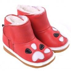 CAROCH - Krabbelschuhe Babyschuhe squeaky Leder - Mädchen | Dark pink gefüllte stiefel