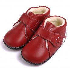CAROCH - Krabbelschuhe Babyschuhe Leder - Mädchen | Rot gefüllte stiefel drei herzen