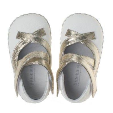 Chaussures premiers pas cuir souple Babies à lacets dorés
