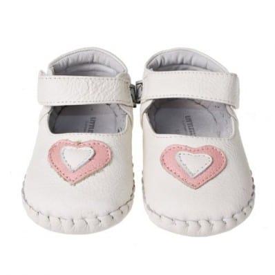Little Blue Lamb - Chaussures premiers pas cuir souple | Blanc coeur rose cérémonie