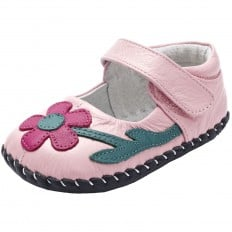 YXY - Baby girls first steps soft leather shoes | Light Pink yellow flower