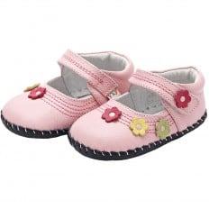 YXY - Chaussures premiers pas cuir souple | Babies rose petites fleurs