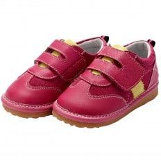 YXY - Zapatos de cuero chirriantes - squeaky shoes niñas | Zapatillas de color rosa de la raya amarilla