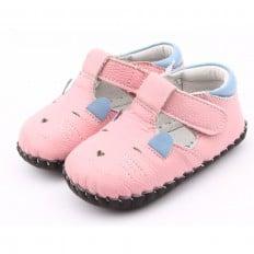 FREYCOO - Chaussures premiers pas cuir souple | Babies rose petite souris