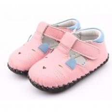 FREYCOO - Zapatos de bebe primeros pasos de cuero niñas | Pequeño ratón de color rosa