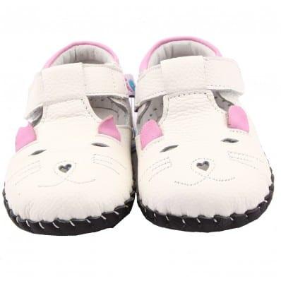 FREYCOO - Krabbelschuhe Babyschuhe Leder - Mädchen | Weiß kleine Maus