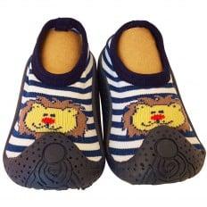 Chaussons-chaussettes enfant antidérapants semelle souple | Lion