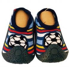 Chaussons-chaussettes enfants antidérapants semelle souple | Foot rayé