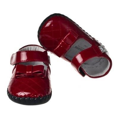 Little Blue Lamb - Chaussures premiers pas cuir souple | Rouge papillon cérémonie