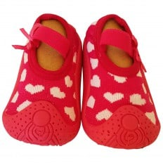 Baby girls Socks shoes with grippy rubber | Fushia white hearts