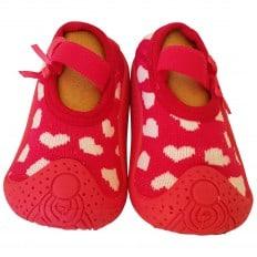 Hausschuhe - Socken Baby Kind geschmeidige Schuhsohle Mädchen | Fuchsia weiße Herzen