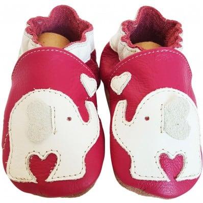 Krabbelschuhe Babyschuhe geschmeidiges Leder - Junge   Elephant
