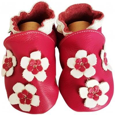 Chaussons de bébé en cuir souple | Jolie fleur rose