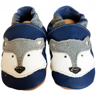 Chaussons bébé cuir souple | Renard bleu