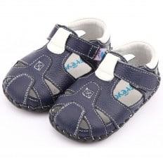 FREYCOO - Zapatos de bebe primeros pasos de cuero niños | Sandalias de color azul marino