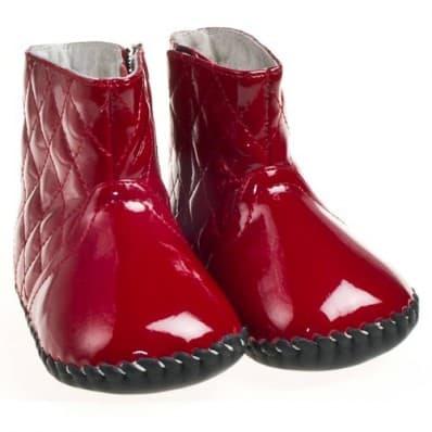 Little Blue Lamb - Chaussures premiers pas cuir souple | Bottine rouge