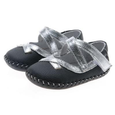 Little Blue Lamb - Chaussures premiers pas cuir souple | Noir lacets argent cérémonie