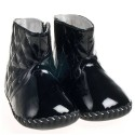 Little Blue Lamb - Baby girls first steps soft leather shoes | Black Bootees