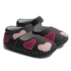 Little Blue Lamb - Baby girls first steps soft leather shoes | Brown with small hearts