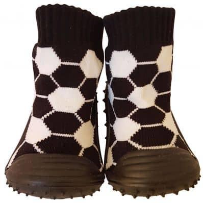Hausschuhe - Socken Baby Kind geschmeidige Schuhsohle Junge | Schwarz Fußball