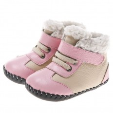 Little Blue Lamb - Baby girls first steps soft leather shoes   Pink and grey bootees