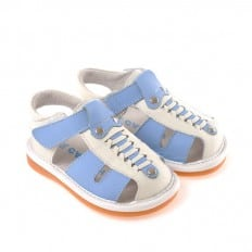 CAROCH - Squeaky Leather Toddler boys Shoes | White blue sandals