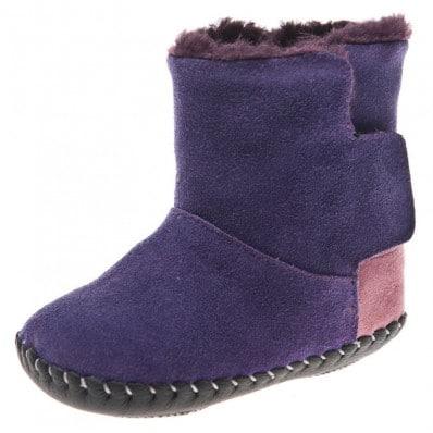 Little Blue Lamb - Chaussures premiers pas cuir souple | Bottines violettes talon rose