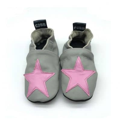 Chaussons cuir souple STAR PINK