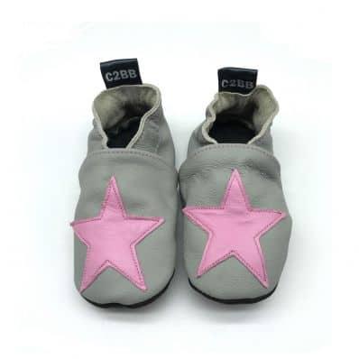 Chaussons en cuir souple STAR PINK C2BB - chaussons, chaussures, chaussettes pour bébé