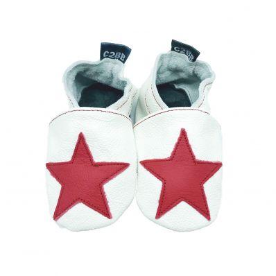 Chaussons en cuir souple STAR RED C2BB - chaussons, chaussures, chaussettes pour bébé