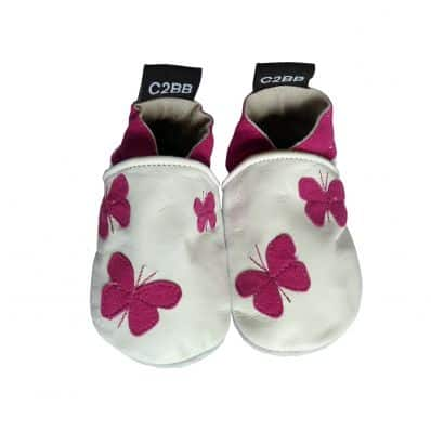 Soft leather baby shoes girls | Small purple butterflies
