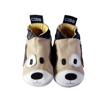 Scarpine Morbida Cuoio Bambini - ragazzo   Cane marrone e beige