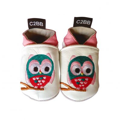 Soft leather baby shoes girls | Owl
