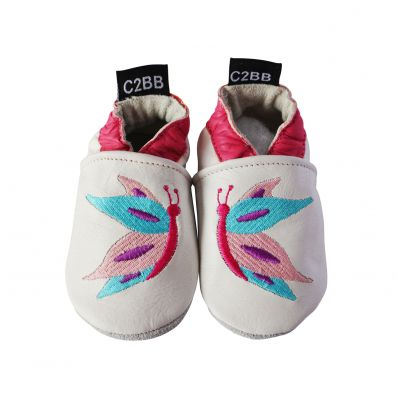 Soft leather baby shoes girls | Butterflies by Léa