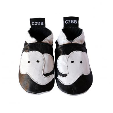 Soft leather baby shoes boys | Black Elephant White