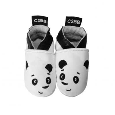 Soft leather baby shoes boys | White panda