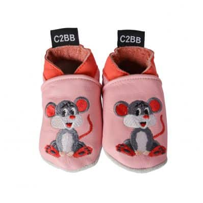 Chaussons en cuir souple brodé MIMI LA SOURIS C2BB - chaussons, chaussures, chaussettes pour bébé