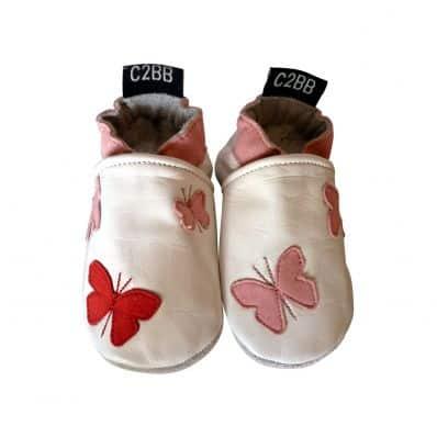 Krabbelschuhe Babyschuhe geschmeidiges Leder - Mädchen   Schmetterlinge rosa Rot