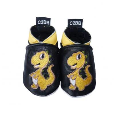 Soft leather baby shoes boys | Orange dino