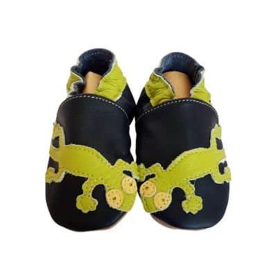 Krabbelschuhe Babyschuhe geschmeidiges Leder - Junge | Grüne Eidechse